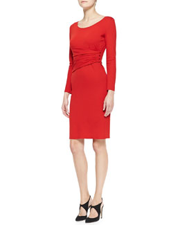 Armani Collezioni Long-Sleeve Sheath Dress with Draped Sash Detail