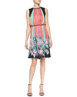 Armani Collezioni Sleeveless Striped & Floral-Print A-line Dress