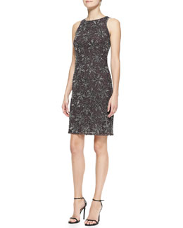Armani Collezioni Sleeveless Belted Floral Embroidery Dress