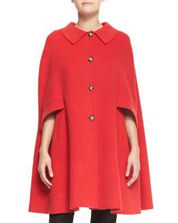 Armani Collezioni Button-Front Wool Cape