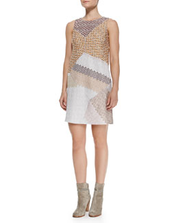 Missoni Sleeveless Metallic Patchwork Shift Dress, Pink/Orange/Multi
