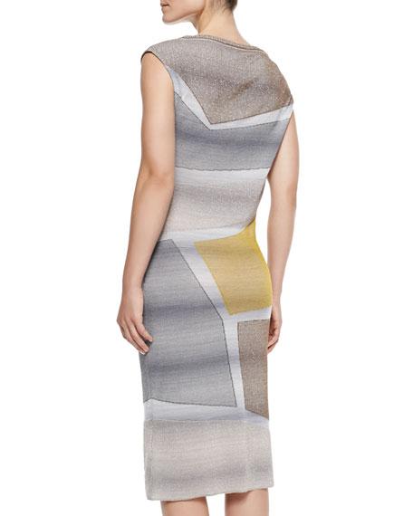 Cap-Sleeve Metallic Intarsia Dress, Gray/Yellow/Multi