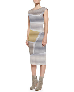 Missoni Cap-Sleeve Metallic Intarsia Dress, Gray/Yellow/Multi
