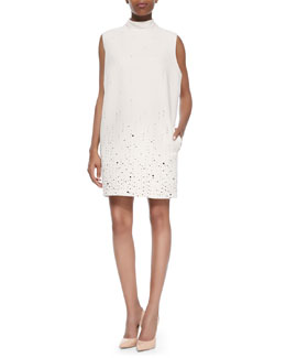 Christopher Kane Scattered Crystal Mock-Neck Dress