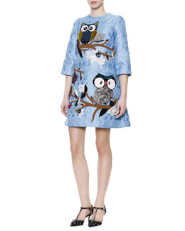 Dolce & Gabbana 3/4-Sleeve Jeweled Owl & Lace Appliqué Dress