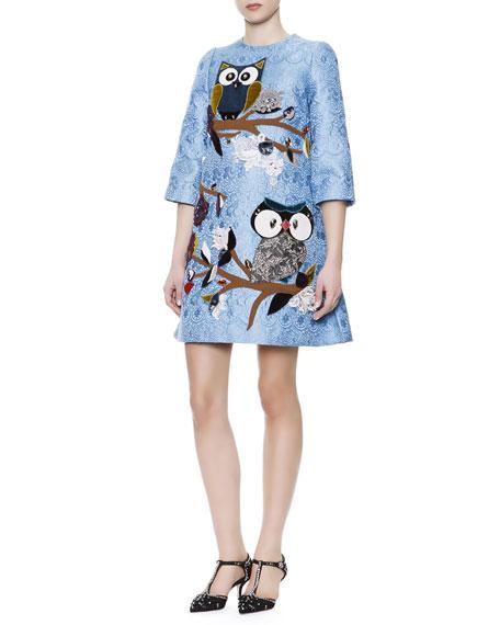 3/4-Sleeve Jeweled Owl & Lace Appliqué Dress