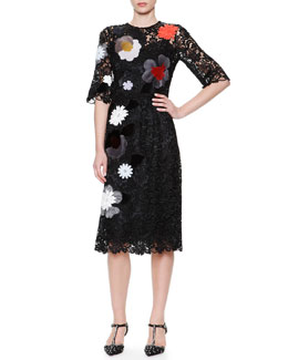Dolce & Gabbana 1/2-Sleeve Flower & Faux Fur Appliqué Dress