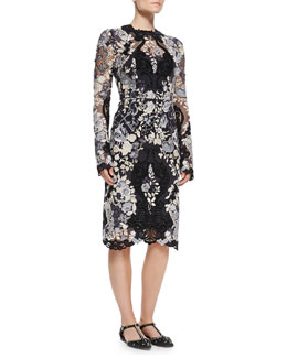 Dolce & Gabbana Gate/Key Embroidered Long-Sleeve Lace Dress