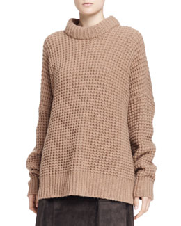 THE ROW Alaina Waffle-Knit Camel/Cashmere Sweater