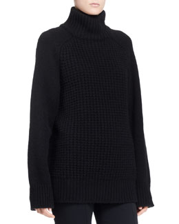 THE ROW Rivington Mixed-Knit Turtleneck Sweater