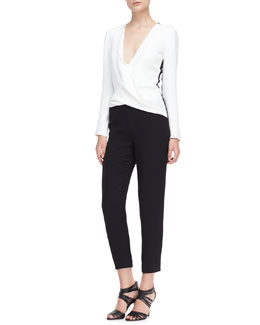 J. Mendel Long-Sleeve Silk Jumpsuit, Ivory/Noir