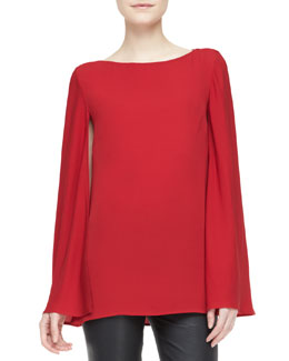 Ralph Lauren Black Label Noelle Long-Sleeve Cape Top