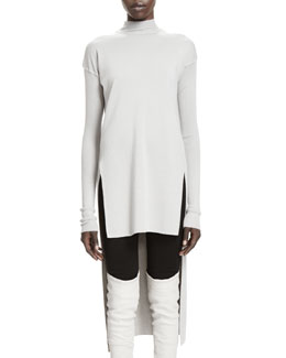 Rick Owens Calla Long-Sleeve High-Low Sweater, Pearl