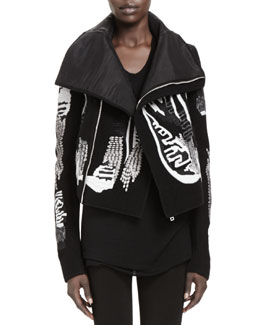 Rick Owens Giacca Embroidered Biker Jacket, Black/White