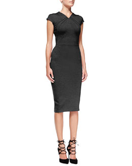 Zac Posen Cap-Sleeve Seamed Jersey Sheath Dress
