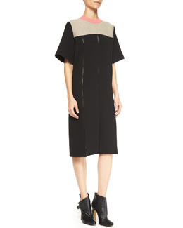 Derek Lam Short-Sleeve Paneled Combo Dress