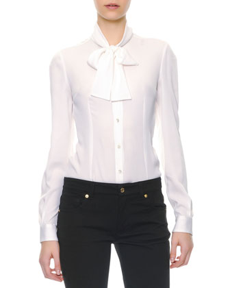 Dolce & Gabbana Long-Sleeve Silk Tie-Neck Blouse