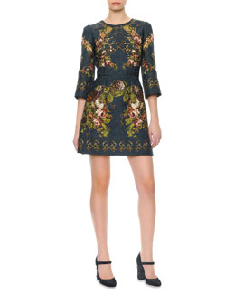 Dolce & Gabbana 3/4-Sleeve Floral & Key-Print Dress
