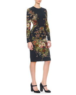 Dolce & Gabbana Long-Sleeve Floral & Key-Print Dress