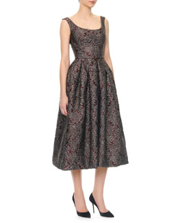 Dolce & Gabbana Scoop-Neck Full Skirt Tea-Length Dress