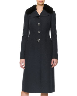 Dolce & Gabbana Mink Collar Jewel-Button Coat