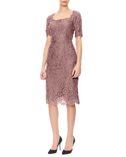 Dolce & Gabbana Short-Sleeve Lace Square-Neck Dress