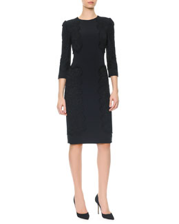 Dolce & Gabbana 3/4-Sleeve Cady Dress with Appliqués
