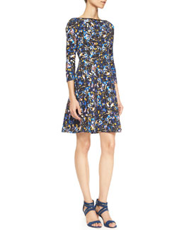 Erdem Vivi Printed Jersey 3/4-Sleeve Dress