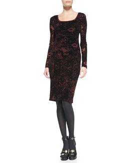 Jean Paul Gaultier Lace-Print Long-Sleeve Dress with Velvet