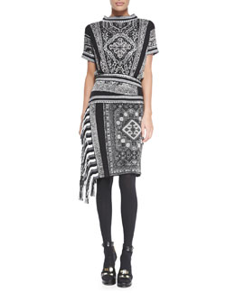 Jean Paul Gaultier Short-Sleeve Funnel-Neck Dress, Black/White