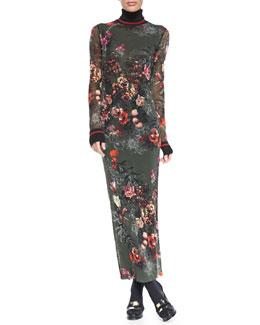 Jean Paul Gaultier Formfitting Floral Maxi Dress with Long Sleeves