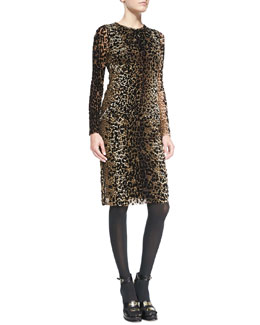 Jean Paul Gaultier Long-Sleeve Leopard-Print Dress