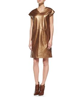 Shamask Metallic Leather Cap-Sleeve Dress, Copper