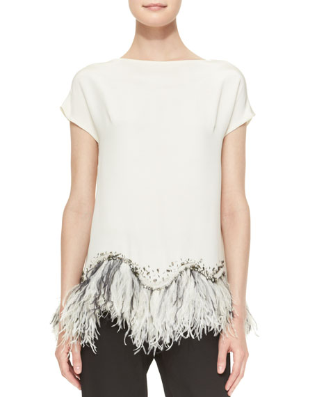 Embellished Feather-Hem Silk Blouse