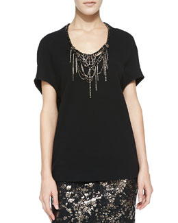 Lela Rose Cocoon Blouse with Embroidered Neckline