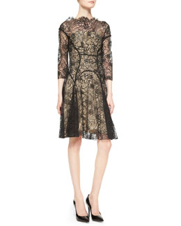 Lela Rose 3/4-Sleeve Lace Godet Dress