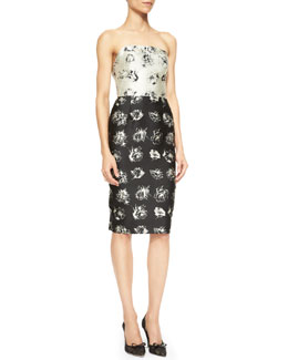 Lela Rose Floral-Print Strapless Flounce-Back Dress