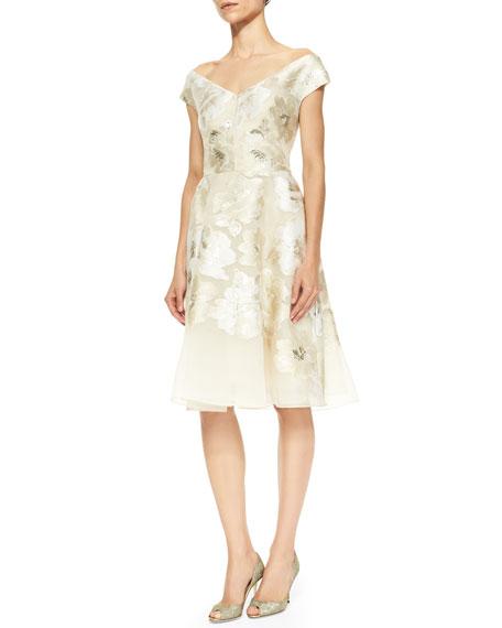 Off-Shoulder V-Neck Metallic Floral Dress, Ivory