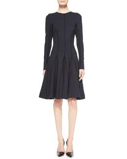 Lela Rose Long-Sleeve Stitched Godet Dress