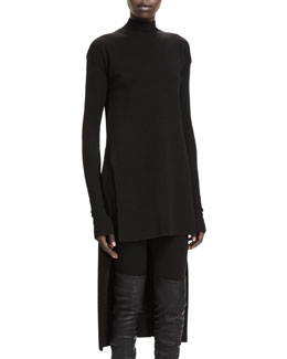 Rick Owens Calla Long-Sleeve High-Low Sweater, Black