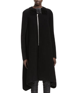 Rick Owens Eliel Mixed-Media Flared Coat