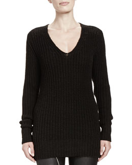 Rick Owens Maglia Wool V-Neck Long Sweater
