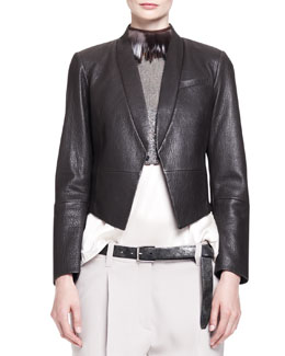 Brunello Cucinelli Pebbled Leather Cropped Tux Jacket with Pockets