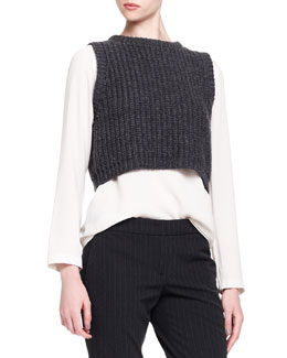 Brunello Cucinelli Sleeveless Cropped Knit Pullover