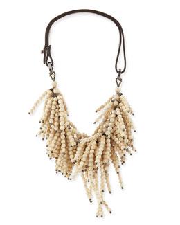 Brunello Cucinelli Riverstone Beaded String-Cluster Choker Necklace, Vanilla