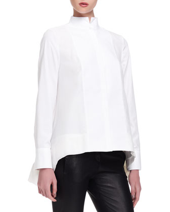Brunello Cucinelli Mock-Neck Double-Layer Blouse