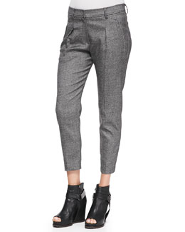 Brunello Cucinelli Slim Pleated Donegal Pants