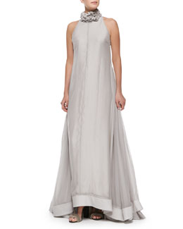 Brunello Cucinelli Sleeveless Satin Full-Skirt Gown, Dove