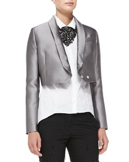 Brunello Cucinelli Cropped Duchess Satin Jacket