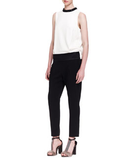 Brunello Cucinelli Colorblock Crystal-Collar Evening Jumpsuit